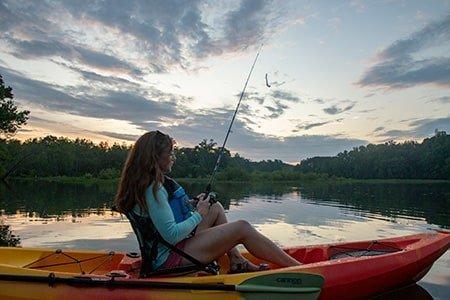 Angler in kayak on water