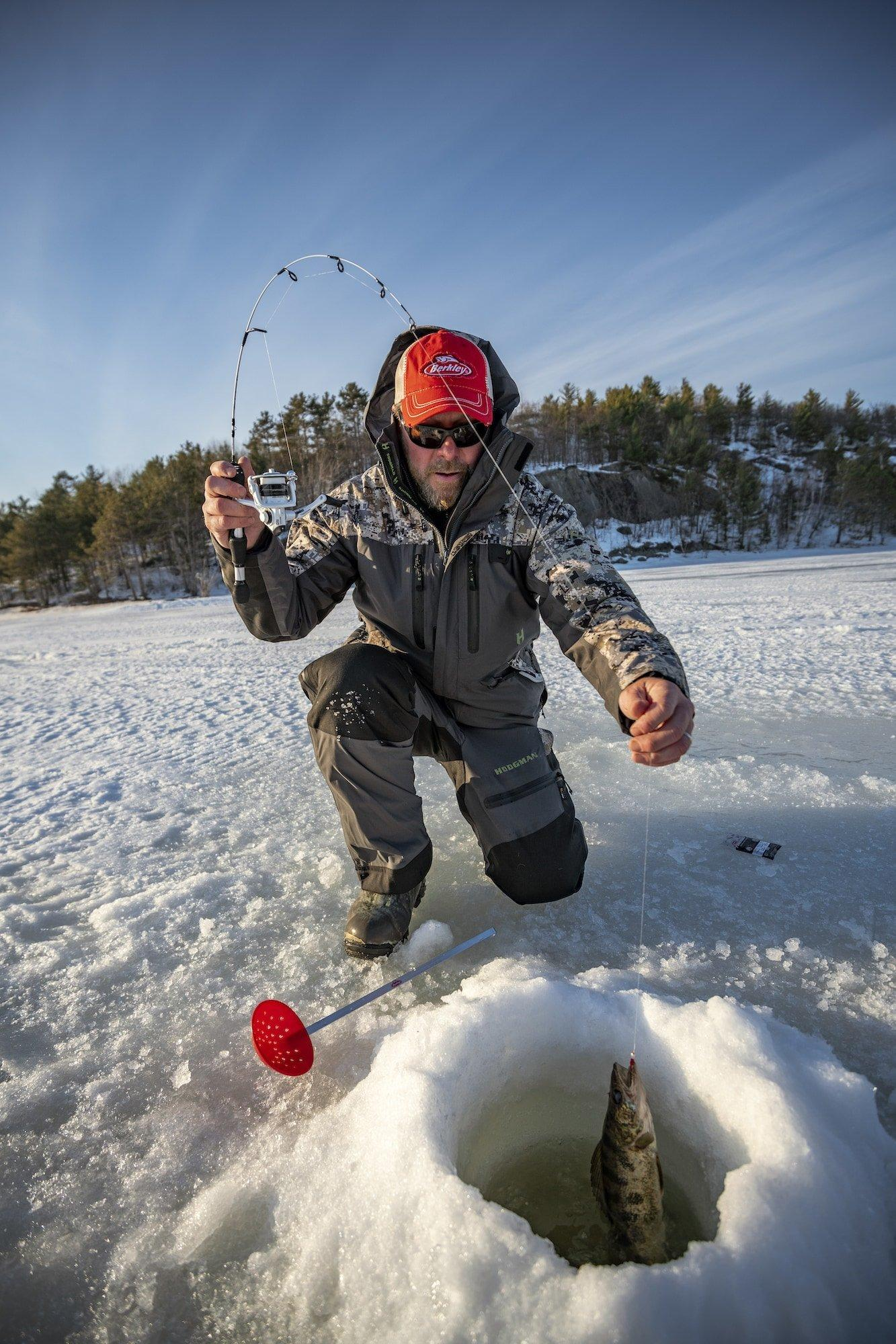 Angler pulling fish out of hole in ice