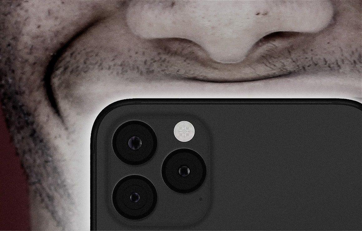 Close-up of phone in front of face