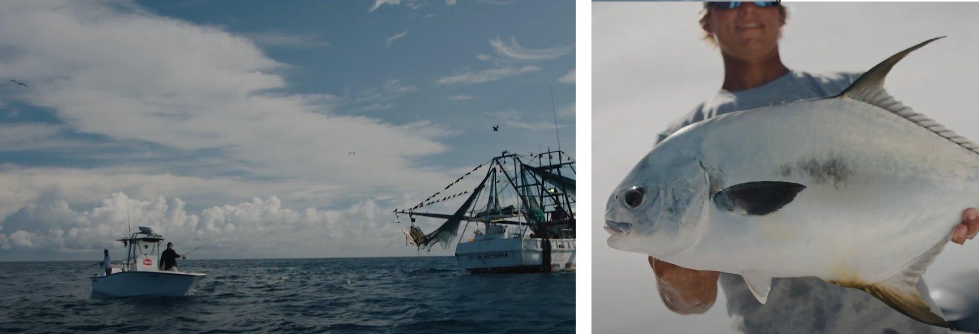 Left: Two anglers in Penn branded boat with larger vessel in front of them; Right: angler holding catch